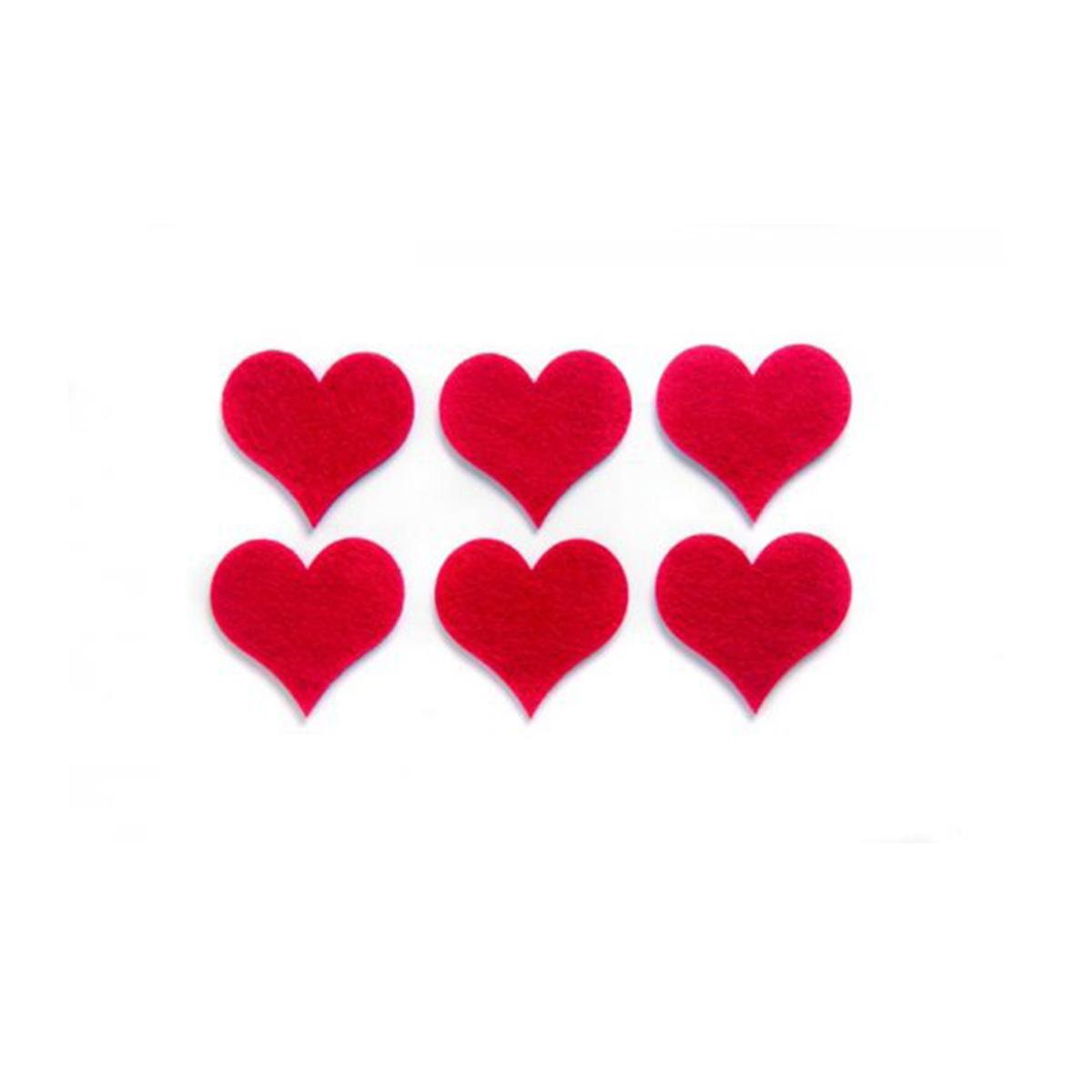 Фигурки из фетра Glorex Сердца, цвет: красный, 6 см, 6 шт210480956Фетр пользуется большой популярностью среди рукодельниц. Его любят за эстетичный вид, практичность и отличную текстуру. Из данного материала вашему вниманию предлагаются заготовки Glorex. Широкое разнообразие цветов и форм поможет реализовать творческие задумки и гармоничным образом дополнить ваше творение. Из фетра можно создавать обложки для книг, ежедневников, игрушки, декоративные чехлы для подушек и многое, многое другое.