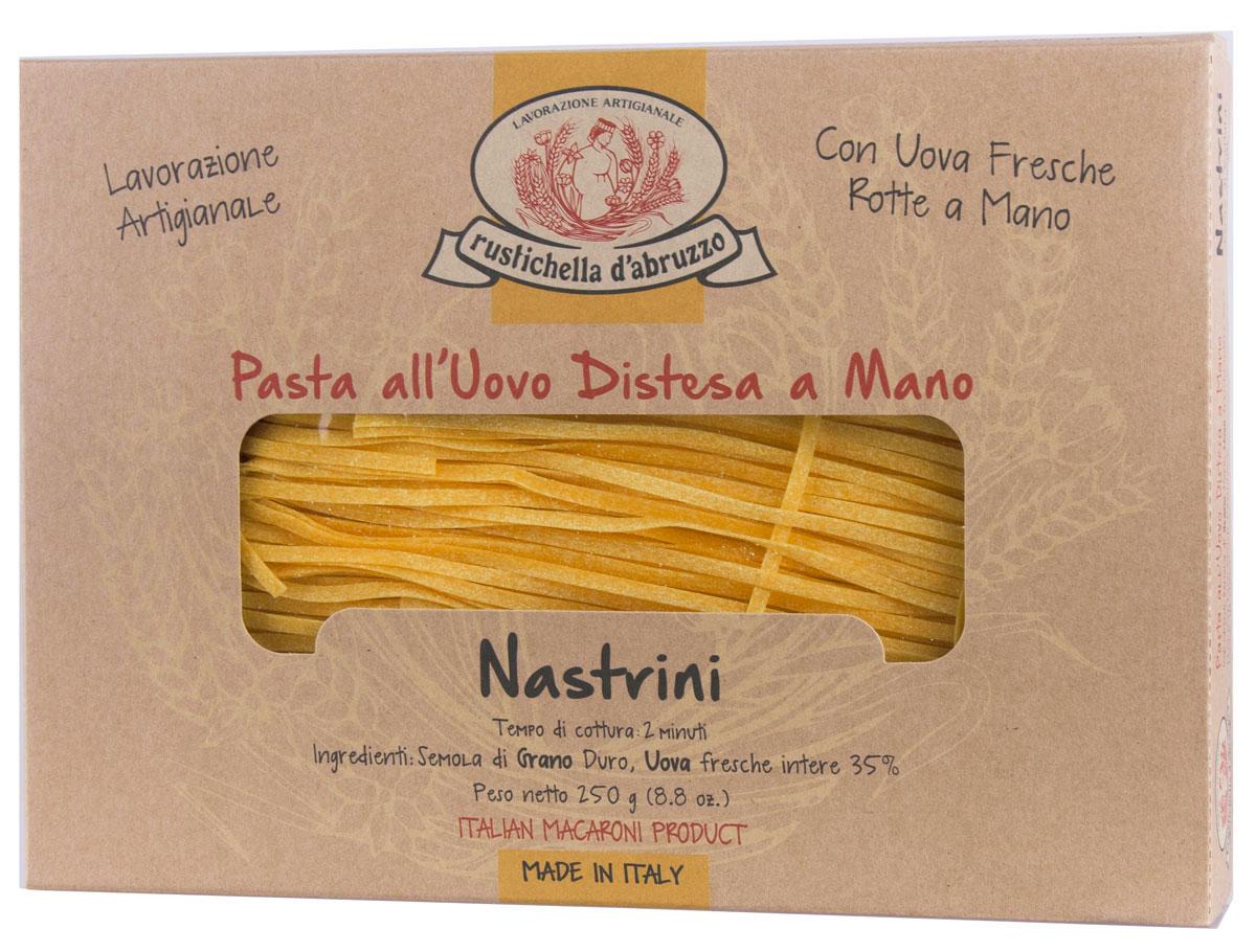 Rustichella паста Настрини, 250 г4170Паста Rustichella Настрини - это традиционная итальянская яичная паста, приготовленная в виде тонкой плоской лапши. Рекомендуется подавать ее с классическими овощными и нежными сливочными соусами (например, с морепродуктами).Rustichella - итальянская фирма, специализирующаяся на производстве макаронных изделий из твердых сортов пшеницы. Для изготовления макарон используется отборная пшеничная мука, замешанная с чистой горной водой, что придает макаронным изделиям уникальную консистенцию и вкус, который не сравнится ни с чем.