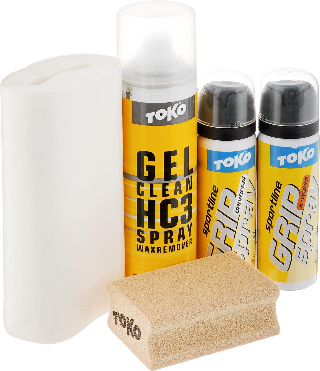 Набор для обработки лыж Toko Sport Line Grip Spray, 5 предметовKarjala Comfort NNNНабор Sport Line Grip Spray - это идеальный помощник при занятии лыжным спортом. В набор входят: смывка, два спрея, специальная пробка и ткань для обработки поверхностей. Смывка-спрей предназначен для очистки колодки на лыжах. Спреи предназначены для держания при отталкивания в разных температурных условиях. Специальная ткань и пробка помогут вам обработать лыжи быстро и качественно.Порадуйте себя качественным и полезным набором.Объем гель-спрея Gel Clean: 150 мл.Объем спрея Grip Spray Universal: 70 мл.Объем спрея Grip Spray X-warm: 70 мл.Размер пробки: 7,7 х 5 х 3 см.Товар сертифицирован.