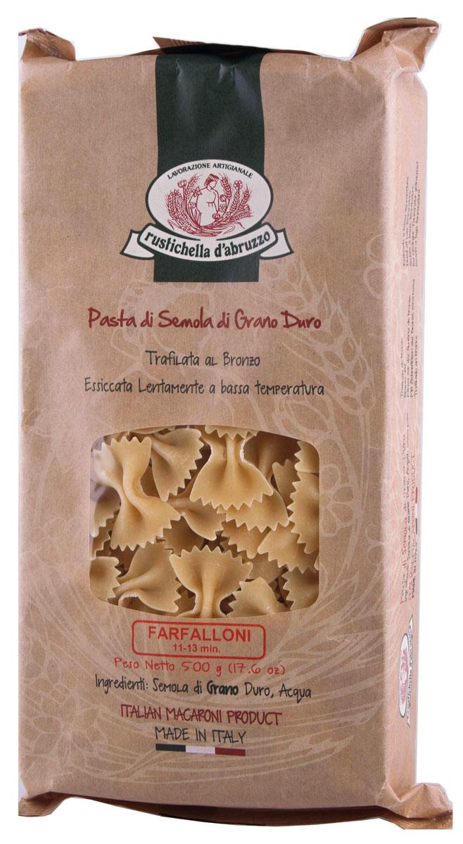 Rustichella паста Фарфаллони, 500 г0120710Фарфаллони Rustichella - паста в форме бантиков из твердых сортов пшеницы.Фарфаллони за оригинальную форму особенно любят дети. Макаронные изделия были придуманы в 16 веке в Ломбардии и Эмилии-Романья на севере Италии. По форме фарфаллони относятся к фигурной пасте.