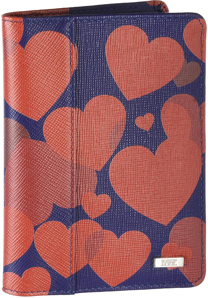Обложка для паспорта женская Esse Page, цвет: синий, красный. GPGE00-000000-FG808O-K100AY9073Женская обложка для паспорта Esse Page изготовлена из натуральной кожи с фактурной поверхностью и оформлена изображением сердечек. Внутри расположены боковые карманы для фиксации паспорта и три прорезных кармана для пластиковых карт. Изделие упаковано в фирменную коробку.