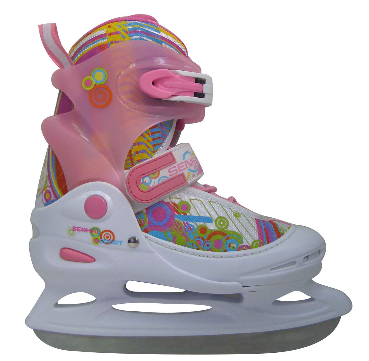 Коньки ледовые для девочки Action, раздвижные, цвет: белый, розовый, голубой. PW-111. Размер 26/29