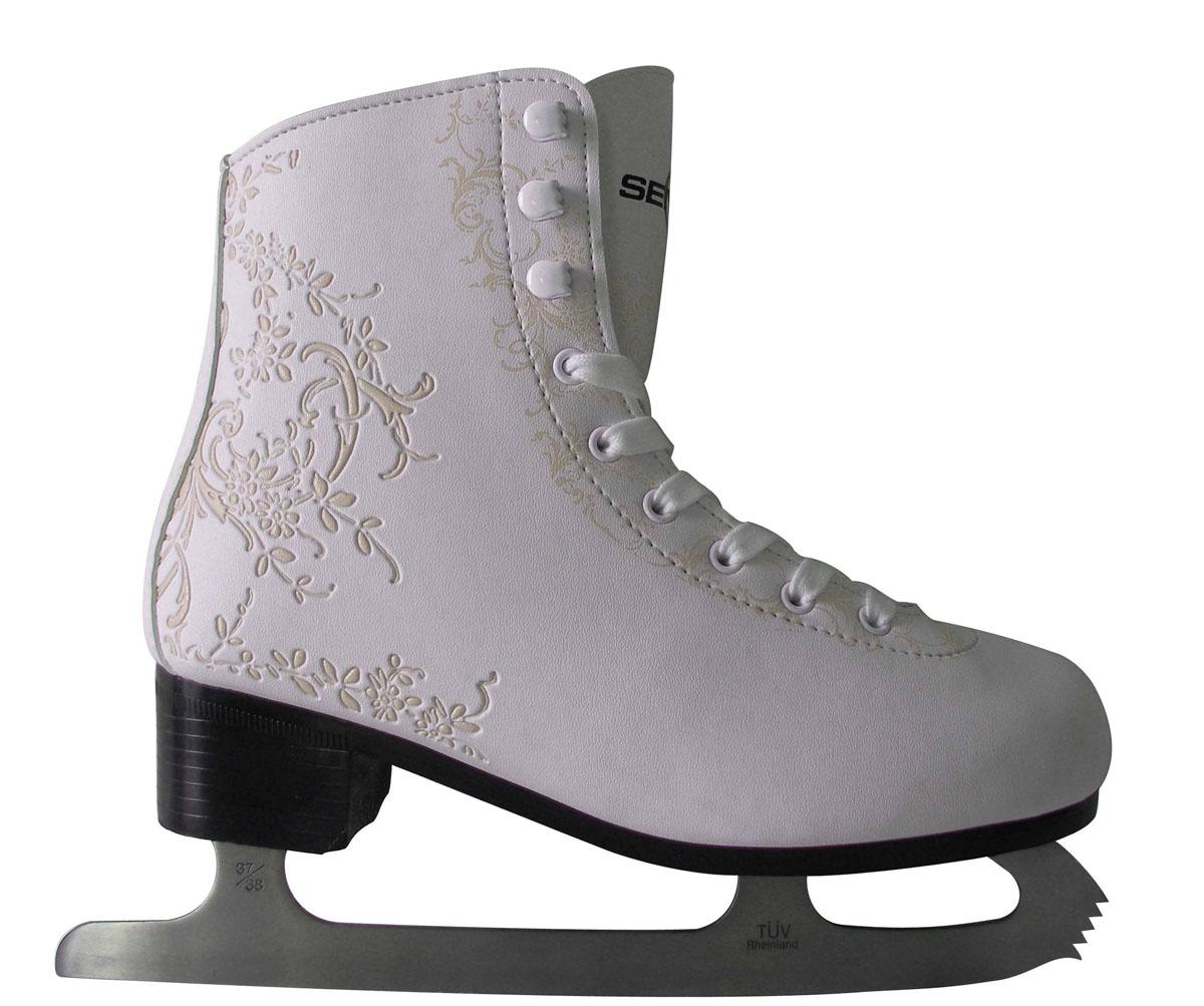 Коньки фигурные женские Action, цвет: белый, золотистый. PW224. Размер 39PW-221Высокий классический ботинок идеально подойдет для любительского катания. Модель снабжена системой быстрой шнуровки и поддержкой голеностопа. Верх ботинка выполнен из высококачественной искусственной кожи, подошва - твердый пластик. Лезвие изготовлено из нержавеющей стали со специальным покрытием, придающим дополнительную прочность.