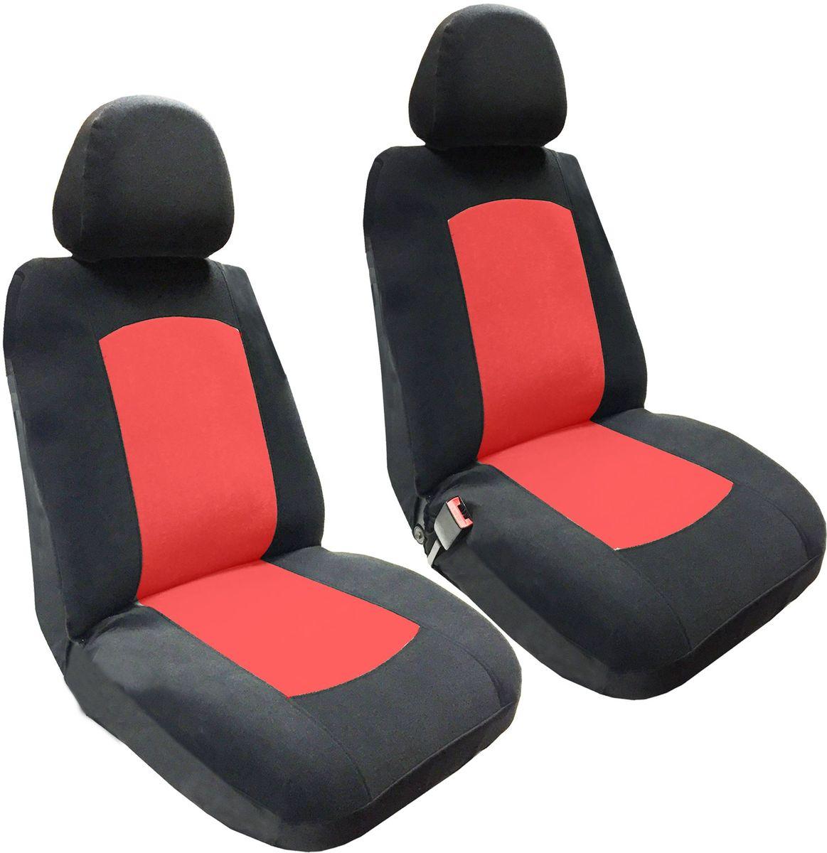 Набор автомобильных чехлов Auto Premium Фрегат, цвет: черный, красный, 4 предметаCA-3505Комплект универсальных чехлов Auto Premium Фрегат выполнен из велюра, предназначен для передних кресел автомобиля. На задней спинке чехла расположен вшивной карман. В комплект входят съемные чехлы для подголовников. Практичный и долговечный комплект чехлов для передних сидений надежно защищает сиденье водителя и пассажира от механических повреждений, загрязнений и износа.