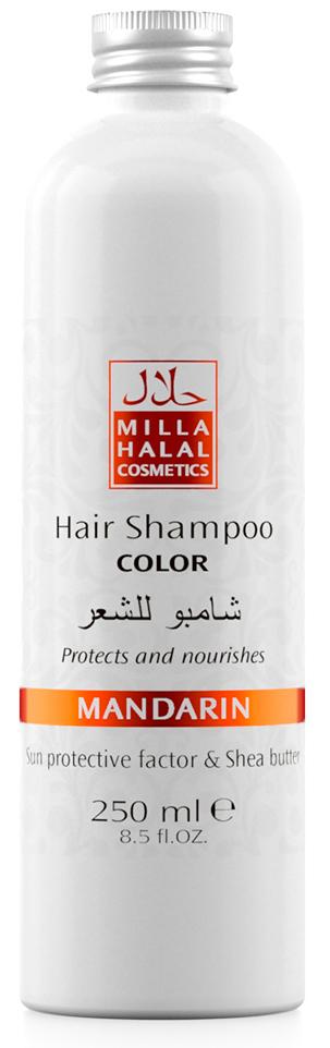 Milla Halal Cosmetics Шампунь для окрашенных волос с маслом ши (карите) и защитным УФ-фактором MILLA MANDARIN, 250МЛFS-00897100% натуральный продукт. Шампунь с маслом Ши (Карите) и эфирным маслом Мандарина укрепляет волосы, защищает цвет окрашенных волос. После применения шампуня волосы выглядят как свежеокрашенные, имеют нужный тон, становятся блестящими и шелковистыми. Специальная формула шампуня защищает и питает волосы. Солнцезащитный компонент, присутствующий в масле ши, защищает волосы от негативного воздействия окружающей среды, а также способствует устойчивости тона окрашенных волос.