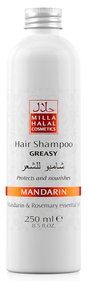 Milla Halal Cosmetics Шампунь для жирных волос с маслами мандарина и розмарина MILLA MANDARIN 250МЛMP59.4D100% натуральный продукт. Шампунь для жирных волос, благодаря входящему в его состав масла листьев Розмарина, которое имеет мощный лечебный эффект, используется для укрепления ослабленных волос. В процессе использования масла листьев розмарина происходит стимуляция роста волос, укрепляются волосяные луковицы, одновременно увлажняется и насыщается витаминами кожа головы, что способствует дезинфекции и устранению перхоти. Розмарин также препятствует выпадению волос и появлению седины.