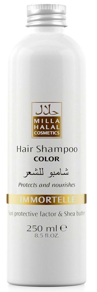 Milla Halal Cosmetics Шампунь для окрашенных волос с маслом ши (карите) и защитным УФ-фактором MILLA IMMORTELLE, 250МЛFS-00610100% натуральный продукт. Шампунь с маслом Ши (Карите) и эфирным маслом Бессмертника итальянского укрепляет волосы, защищает цвет окрашенных волос. После применения шампуня волосы выглядят как свежеокрашенные, имеют нужный тон, становятся блестящими и шелковистыми. Специальная формула шампуня защищает и питает волосы. Солнцезащитный компонент, присутствующий в масле ши, защищает волосы от негативного воздействия окружающей среды, а также способствует устойчивости тона окрашенных волос.