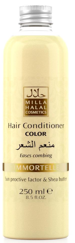 Milla Halal Cosmetics Кондиционер для окрашенных волос с маслом Ши (карите) и защитным УФ-фактором MILLA «IMMORTELLE», 250МЛ4604903000127100% натуральный продукт. Кондиционер для окрашенных волос с маслом Ши (Карите) и эфирным маслом Бессмертника итальянского превосходно питает и защищает тон окрашенных волос. Солнцезащитный компонент, присутствующий в масле ши, защищает волосы от негативного воздействия окружающей среды. Кондиционер не утяжеляет волосы и значительно облегчает их расчесывание.