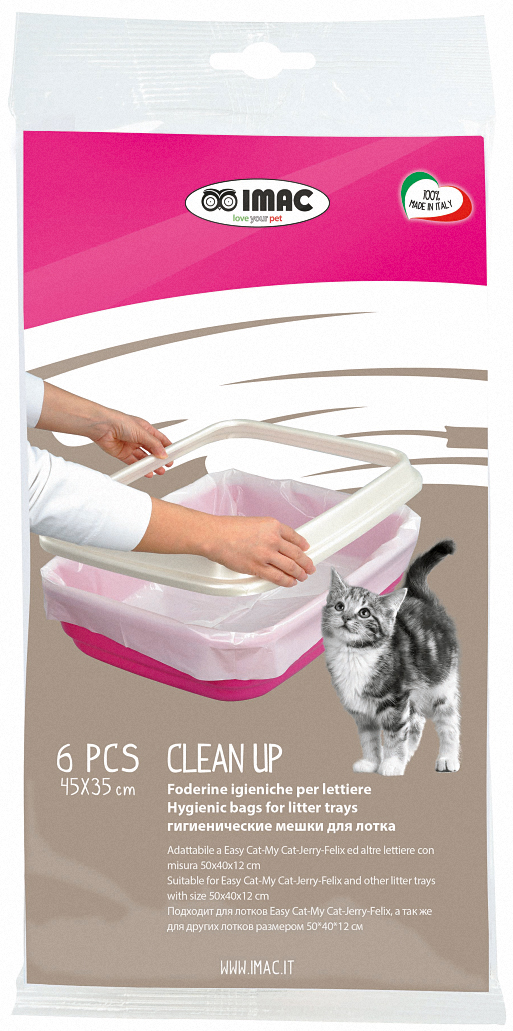 Пакеты для туалета IMAC Clean Up, 45 х 35 см, 6 шт81199BПакеты для туалета IMAC Clean Up - это быстрая и легкая уборка без проблем. Пакеты подходят для кошачьих туалетов Easy Cat, My Cat, Jerry, Felix производства Imac, а так же для других лотков размером 50 х 40 х 12 см.Гигиенические пакеты облегчат уборку кошачьего туалета, избавят вас от постоянного мытья лотка. Снимите с лотка верхнюю крышку или верхний ограничительный борт (в зависимости от его модели), наденьте пакет на нижнюю часть, выровняйте, края заверните за борта лотка.Насыпьте на дно лотка наполнитель в соответствии с инструкцией производителя наполнителя.Сверху наденьте крышку или бортик туалета.После загрязнения наполнителя просто снимите верхнюю часть туалета, удалите пакет с использованным наполнителем, а в чистый лоток положите новый пакет в той же последовательности.