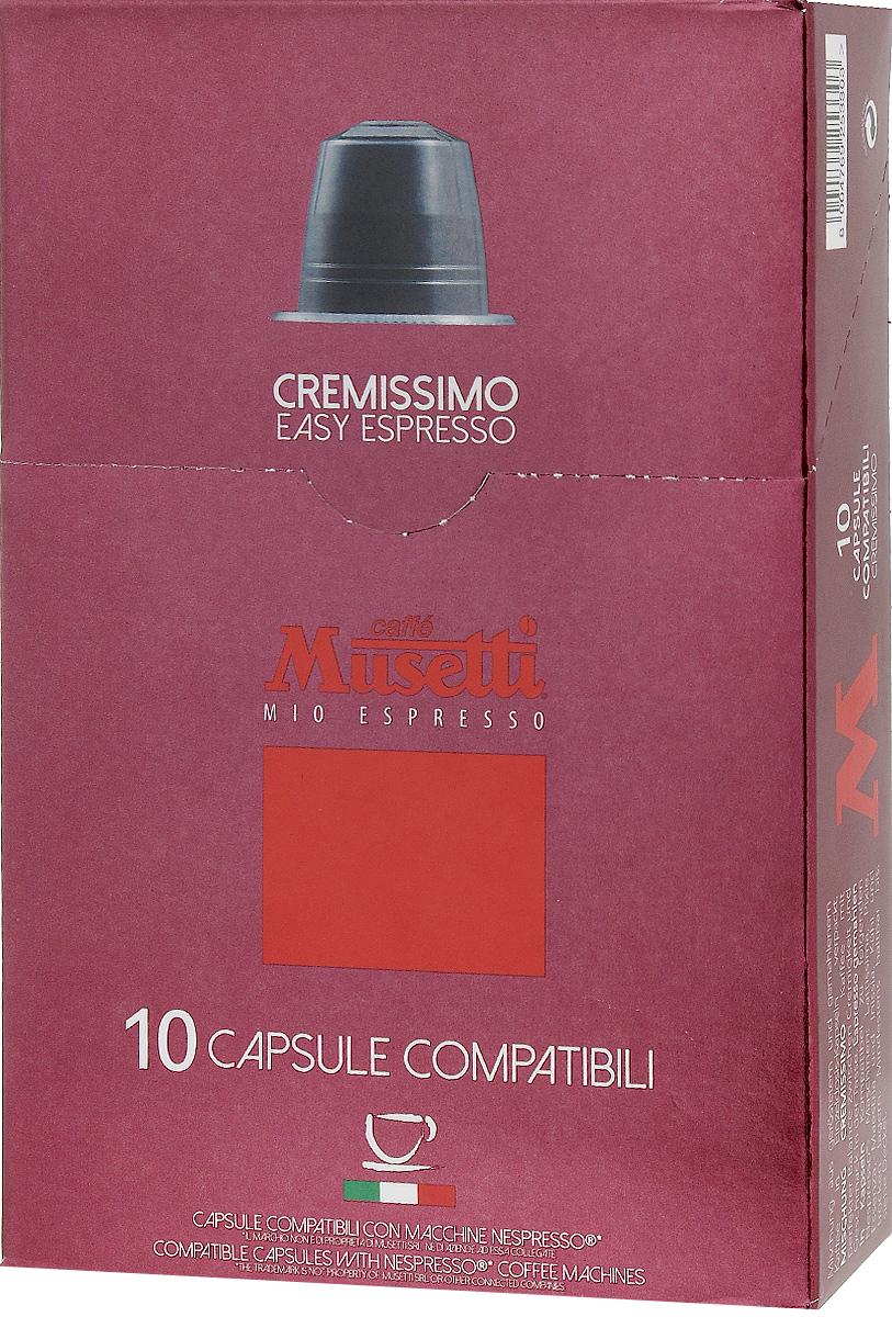Musetti Cremissimo кофе в капсулах, 10 шт0120710Исключительные вкусовые и ароматические свойства арабики, обогащенные плотностью и кремообразностью африканской робусты, делают эту смесь идеальной для приготовления изысканного итальянского эспрессо, плотного, с шоколадным послевкусием.Вес одной капсулы: 5,6 г.