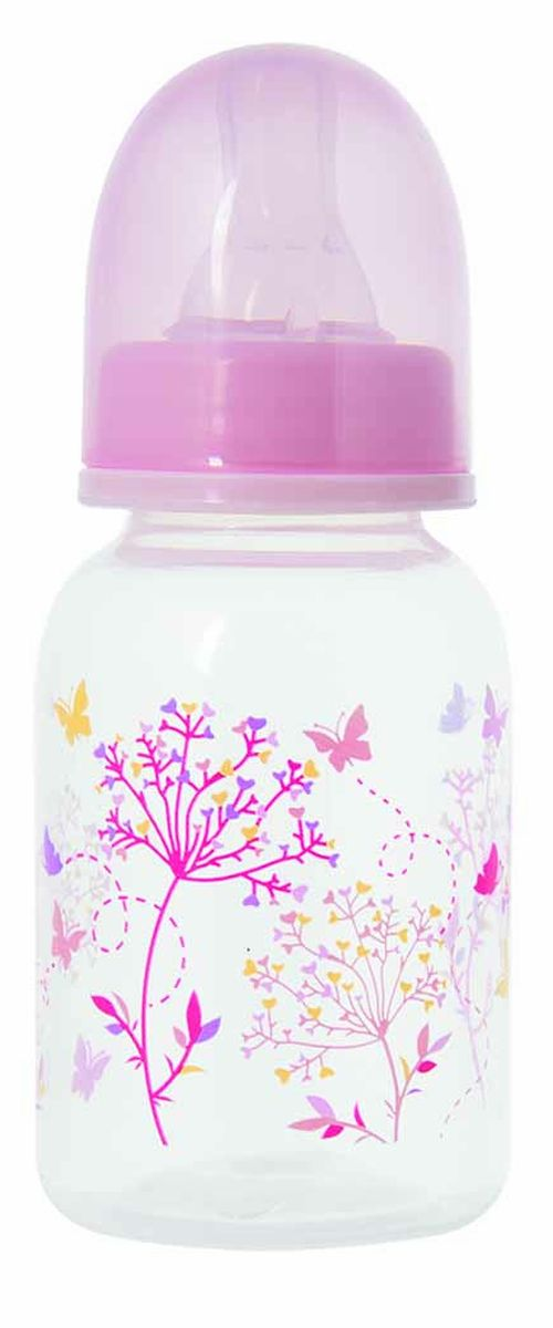 Мир Детства Бутылочка для кормления Травы с силиконовой соской ортодонтической формы цвет розовый 125 мл