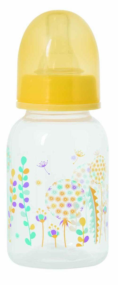 Мир Детства Бутылочка для кормления с силиконовой соской Травы цвет желтый 125 мл