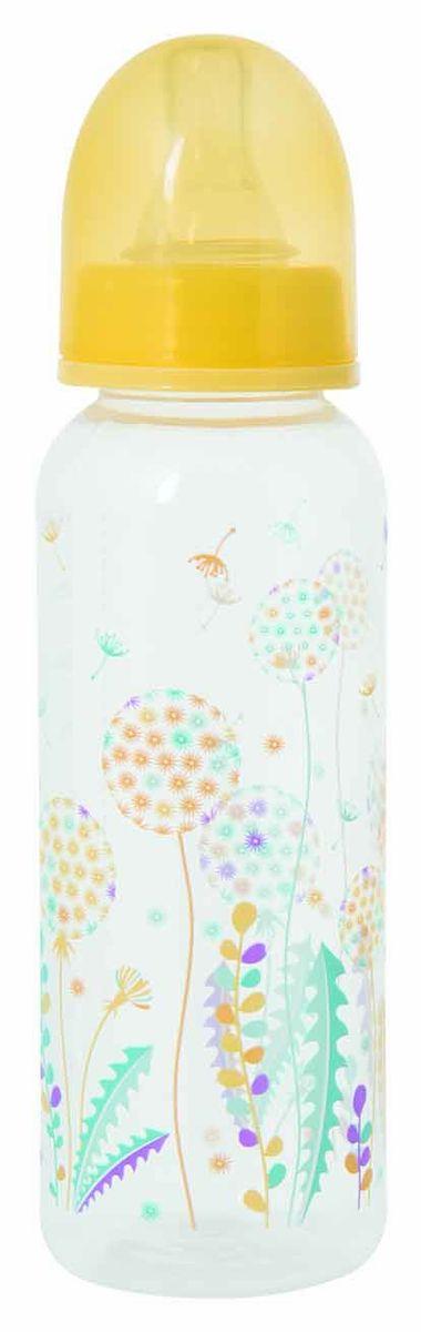 Мир Детства Бутылочка для кормления с силиконовой соской Травы цвет желтый 250 мл