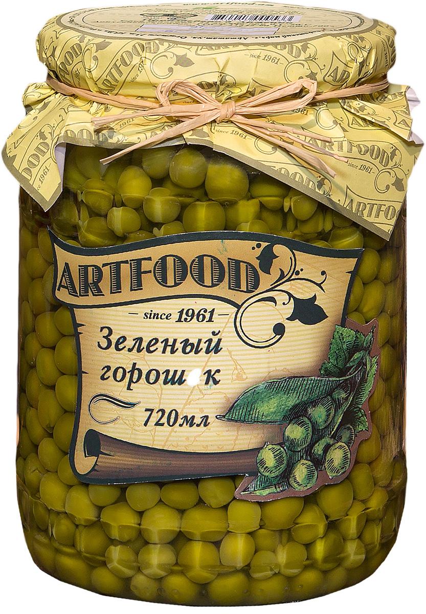 Artfood зеленый горошек, 720 мл0120710Неизменная составляющая салата оливье и винегрета, полезная и быстрая закуска - продолжает оставаться на пике популярности. Супы, салаты, гарниры, паштеты, овощные рагу многие не могут представить себе без этого универсального продукта, который отлично сочетается с мясом, рыбой, любыми овощами, майонезом и прочими соусами.