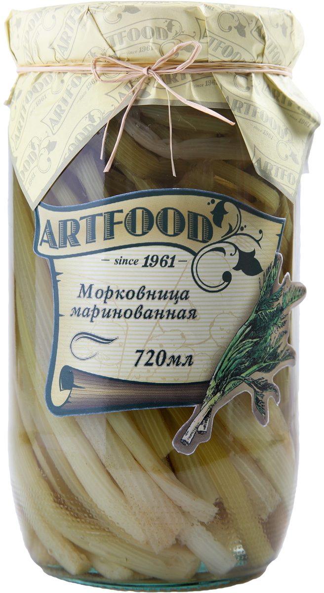 Artfood морковница маринованная, 720 мл0120710Компания Артфудбыла основана в 1995 г на базе Арташатского Консервного Завода и на сегодняшний день является одной из крупнейших компаний в Армении и имеет доминирующие позиции в сфере консервированной продукции. Не содержит консервантов, искусственных ароматизаторов и красителей.