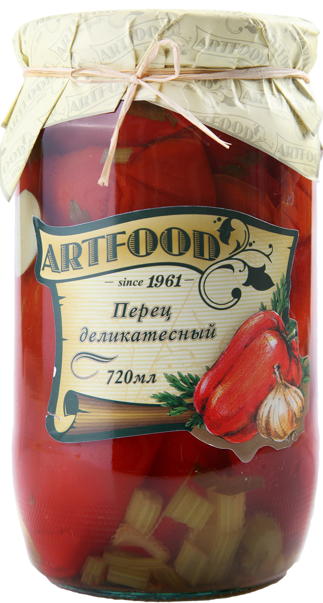 Artfood перец деликатесный, 700 г4607936770517Компания Артфудбыла основана в 1995 г на базе Арташатского Консервного Завода и на сегодняшний день является одной из крупнейших компаний в Армении и имеет доминирующие позиции в сфере консервированной продукции. Не содержит консервантов, искусственных ароматизаторов и красителей.