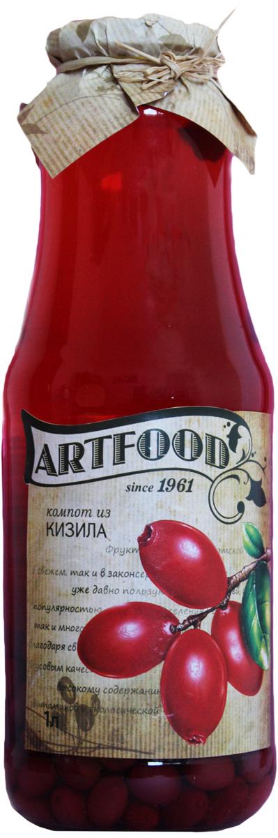Artfood компот из кизила, 1 л0120710Компот обладает множеством полезных свойств в сравнении с другими жидкостями. В отличие от воды в нём содержатся витамины. От соков компот отличается тем, что не содержит такого обильного количества кислот, которые могут негативно повлиять на желудок
