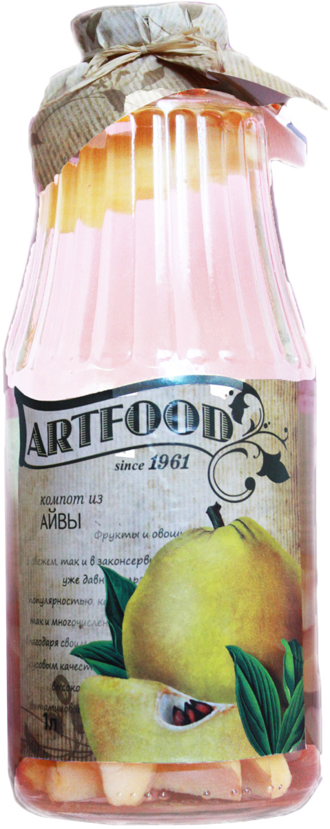 Artfood компот из айвы, 1 л13001110200000Компот обладает множеством полезных свойств в сравнении с другими жидкостями. В отличие от воды в нём содержатся витамины. От соков компот отличается тем, что не содержит такого обильного количества кислот, которые могут негативно повлиять на желудок