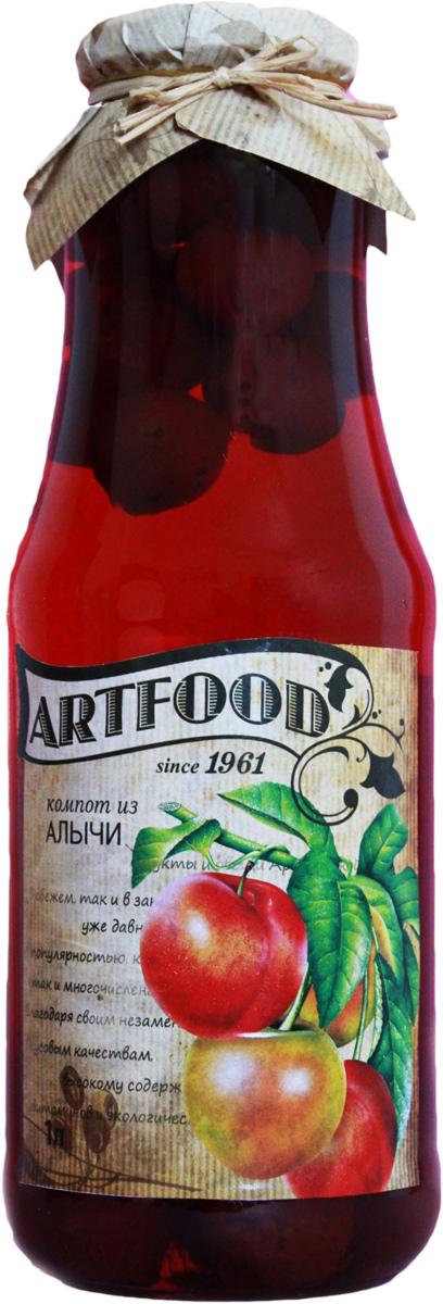 Artfood компот из алычи, 1 л0120710Компот обладает множеством полезных свойств в сравнении с другими жидкостями. В отличие от воды в нём содержатся витамины. От соков компот отличается тем, что не содержит такого обильного количества кислот, которые могут негативно повлиять на желудок
