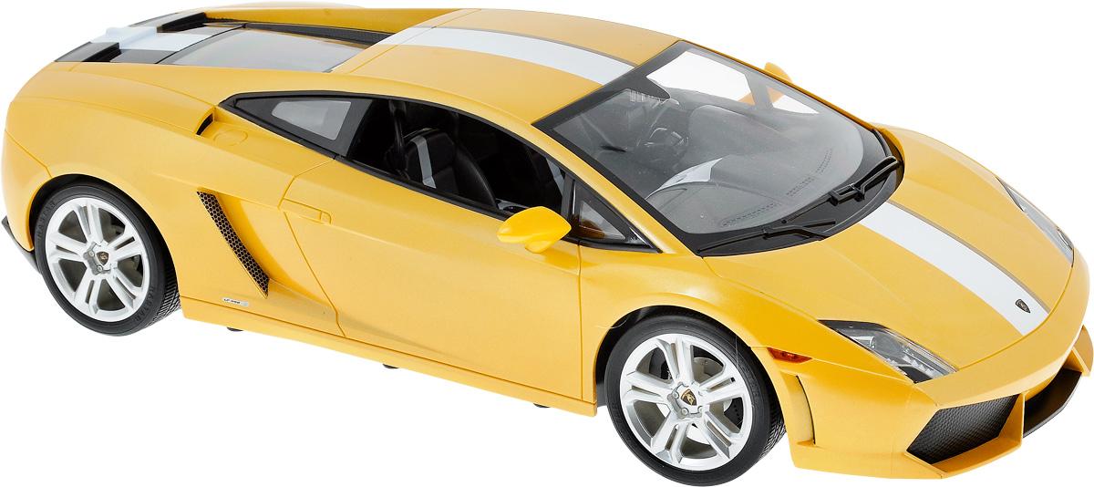 """Радиоуправляемая модель Rastar """"Lamborghini Gallardo LP550-2"""", выполненная из прочного пластика с металлическими элементами, является уменьшенной копией настоящего автомобиля в масштабе 1/10. Машина при помощи пульта управления движется вперед-назад, направо-налево. Автомобиль обладает высокой стабильностью движения, что позволяет полностью контролировать его процесс, управляя уверенно и без суеты. А серьезные габариты придают реалистичность в управлении. Модель оснащена световыми эффектами. Такая машина станет отличным подарком не только автолюбителю, но и человеку, ценящему оригинальность и изысканность. Подарите своему ребенку возможность почувствовать себя настоящим водителем. Машина работает от сменного аккумулятора (входит в комплект), зарядка которого происходит при помощи зарядного устройства (в комплекте). Пульт управления работает от батарейки 9V типа """"Крона"""" (не входит в комплект). Пульт управления работает на частоте 40 MHz."""