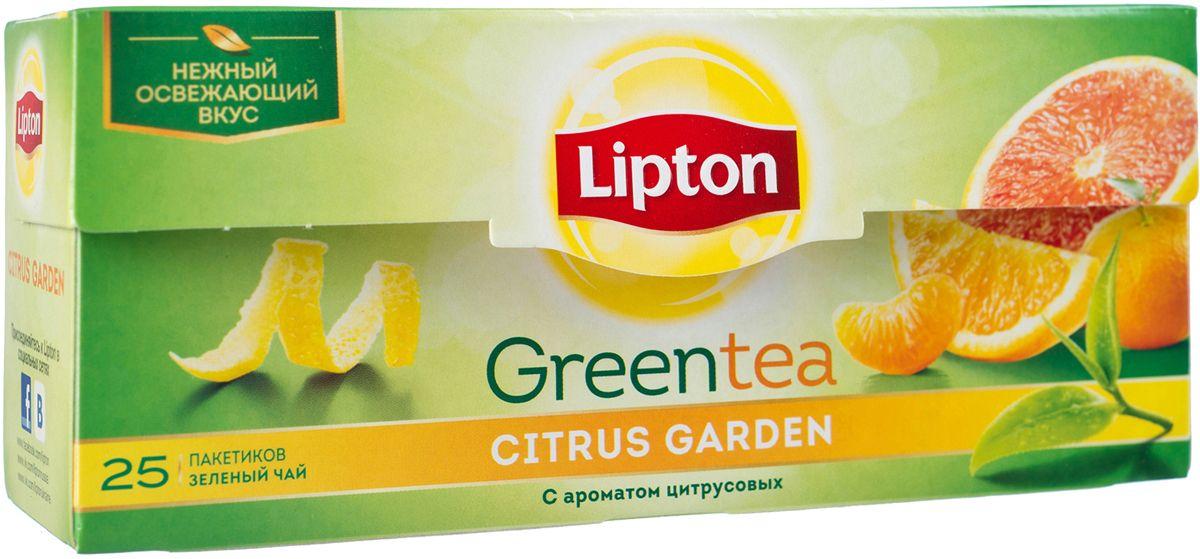 Lipton Зеленый чай Citrus Garden 25шт0120710Молодые чайные листочки, выращенные под теплыми лучами солнца, дарят зеленому чаю Lipton Citrus Garden нежный вкус, дополненный ярким свежим ароматом грейпфрута, апельсина и мандарина, чтобы Вы могли насладиться любимым чаем в каждой чашке. Откройте яркий вкус цитрусовых ноток в изысканном букете зеленого чая Lipton!