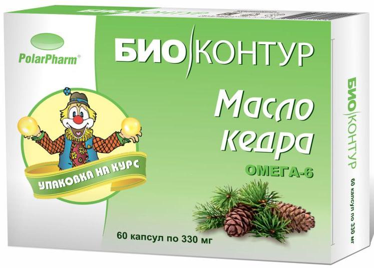 Масло кедровое БиоКонтур, в капсулах 330 мг, №604607097011924Масло кедровое БиоКонтур в капсулах 330 мг №60 способствует нормализации уровня холестерина, способствует улучшению обмена липидовСостав: масло кедровое, оболочка (желатин, глицерин (пластификатор), вода), витамин Е.Товар не является лекарственным средством.Могут быть противопоказания и следует предварительно проконсультироваться со специалистом.