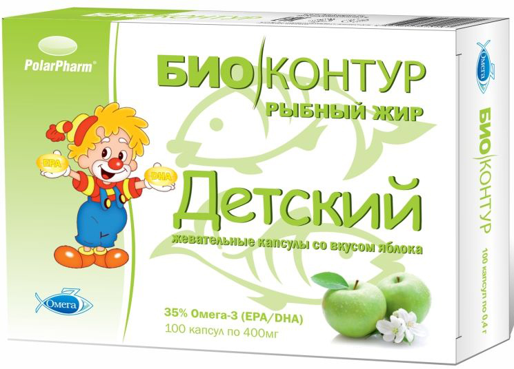 Детский рыбный жир БиоКонтур, со вкусом яблока, мягкие жевательные капсулы 400 мг, №1000003929Детский рыбный жир БиоКонтур со вкусом яблока, мягкие жевательные капсулы, 400 мг №100 способствует укреплению иммунитета, способствует восстановлению организма после перенесенных заболеваний, способствует быстрому восстановлению организма после умственных и физических нагрузокСостав: жир океанических рыб, оболочка (глицерин (пластификатор), желатин, крахмал, вода, ароматизатор натуральный Яблоко, краситель натуральный Хлорофилл), ароматизатор натуральный Яблоко, антиокислители (смесь токоферолов, аскорбил пальмитат).Товар не является лекарственным средством.Могут быть противопоказания и следует предварительно проконсультироваться со специалистом.