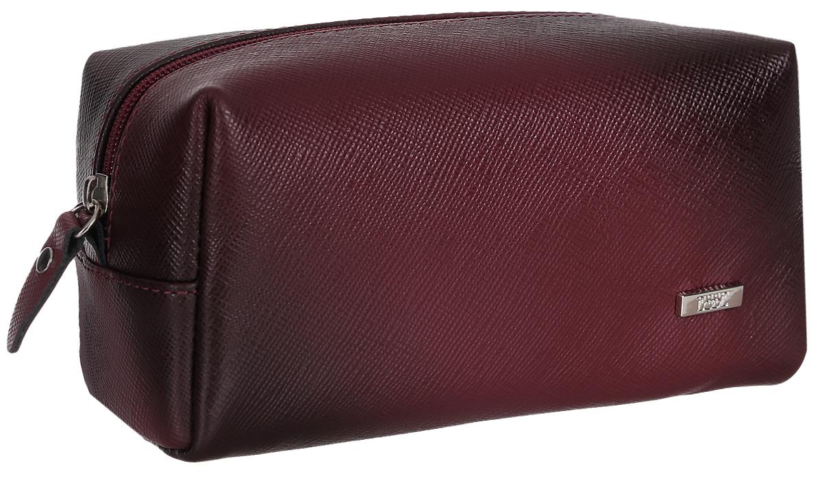 Косметичка женская Esse Минна, цвет: бордовый. GMNN00-000000-FG906O-K1003607869410673Компактная женская косметичка Esse Минна выполнена из натуральной кожи с фактурной поверхностью.Изделие содержит одно вместительное отделение, которое закрывается на застежку-молнию.Женская косметичка - это стильный и полезный аксессуар для любой современной модницы.