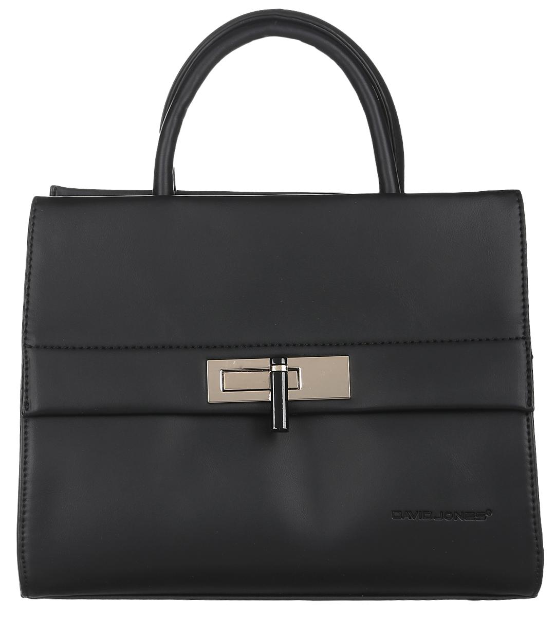Сумка женская David Jones, цвет: черный. 5280-28-2Стильная женская сумка David Jones выполнена из искусственной кожи и текстиля. Изделие имеет одно основное отделение, которое закрывается на застежку-молнию. Внутри находятся прорезной карман на застежке-молнии и два накладных открытых кармана. Снаружи, на передней стенке расположен накладной карман, закрывающийся на клапан с поворотным замком, на задней стенке - прорезной карман на застежке-молнии. Изделие оснащено двумя удобными ручками. В комплект входит съемный регулируемый наплечный ремень.Основание изделия защищено от повреждений металлическими ножками.Роскошная сумка внесет элегантные нотки в ваш образ и подчеркнет ваше отменное чувство стиля.