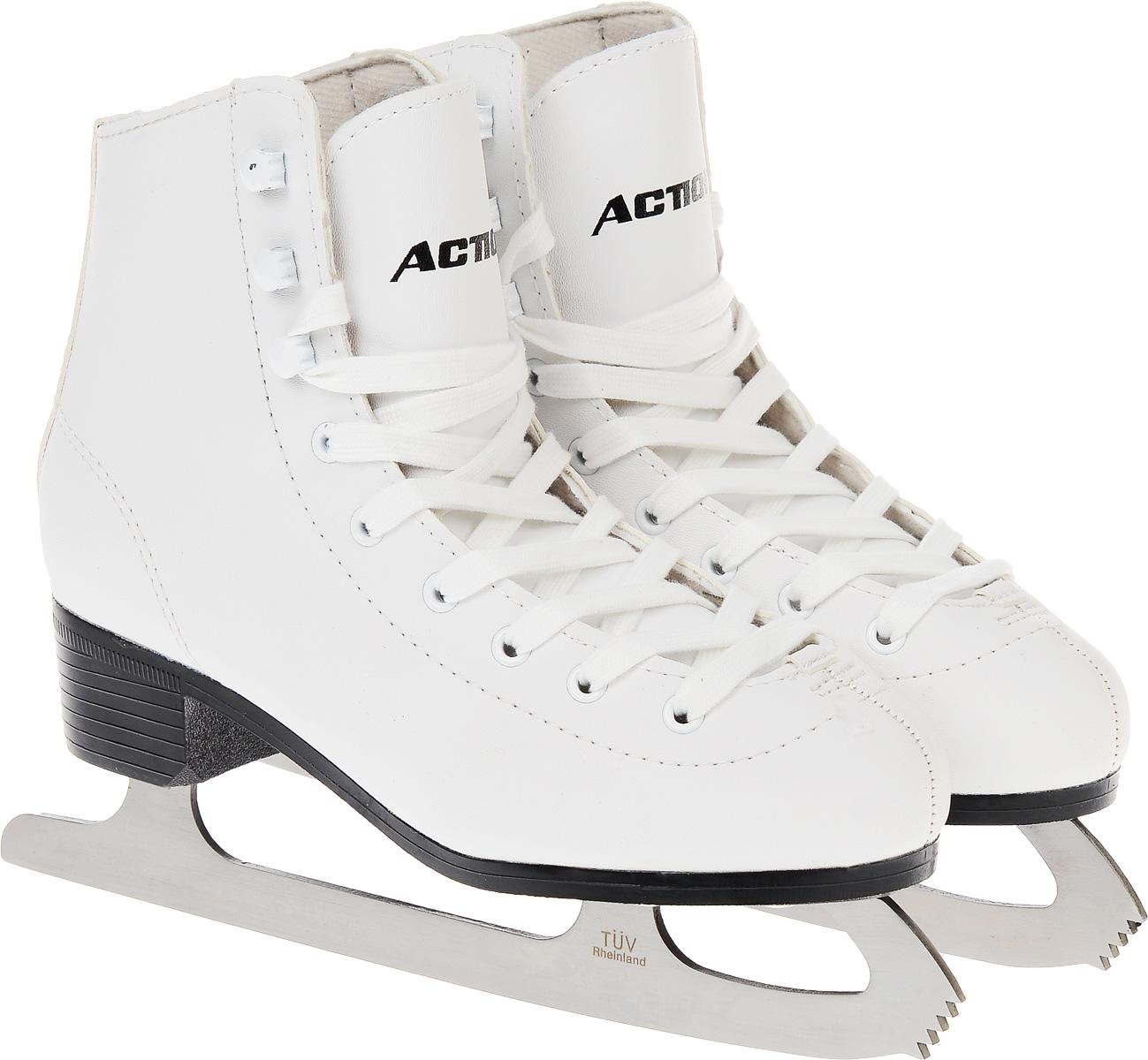 Коньки фигурные женские Action Sporting Goods, цвет: белый. PW-215. Размер 39PW-221Высокий классический ботинок идеально подойдет для любительского катания. Модель снабжена системой быстрой шнуровки и поддержкой голеностопа. Верх ботинка выполнен из высококачественной искусственной кожи, подошва - твердый пластик.Лезвие изготовлено из нержавеющей стали со специальным покрытием, придающим дополнительную прочность.