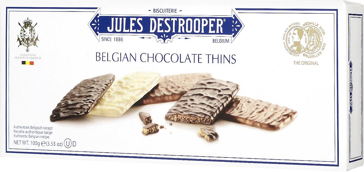 Jules Destrooper Ассорти печенье в шоколаде, 100 г0120710Печенье в шоколаде Jules Destrooper Ассорти - хрустящие и тонкие печенья, обильно покрытые тремя сортами настоящего бельгийского шоколада (темным, белым и молочным).Уважаемые клиенты! Обращаем ваше внимание, что полный перечень состава продукта представлен на дополнительном изображении.