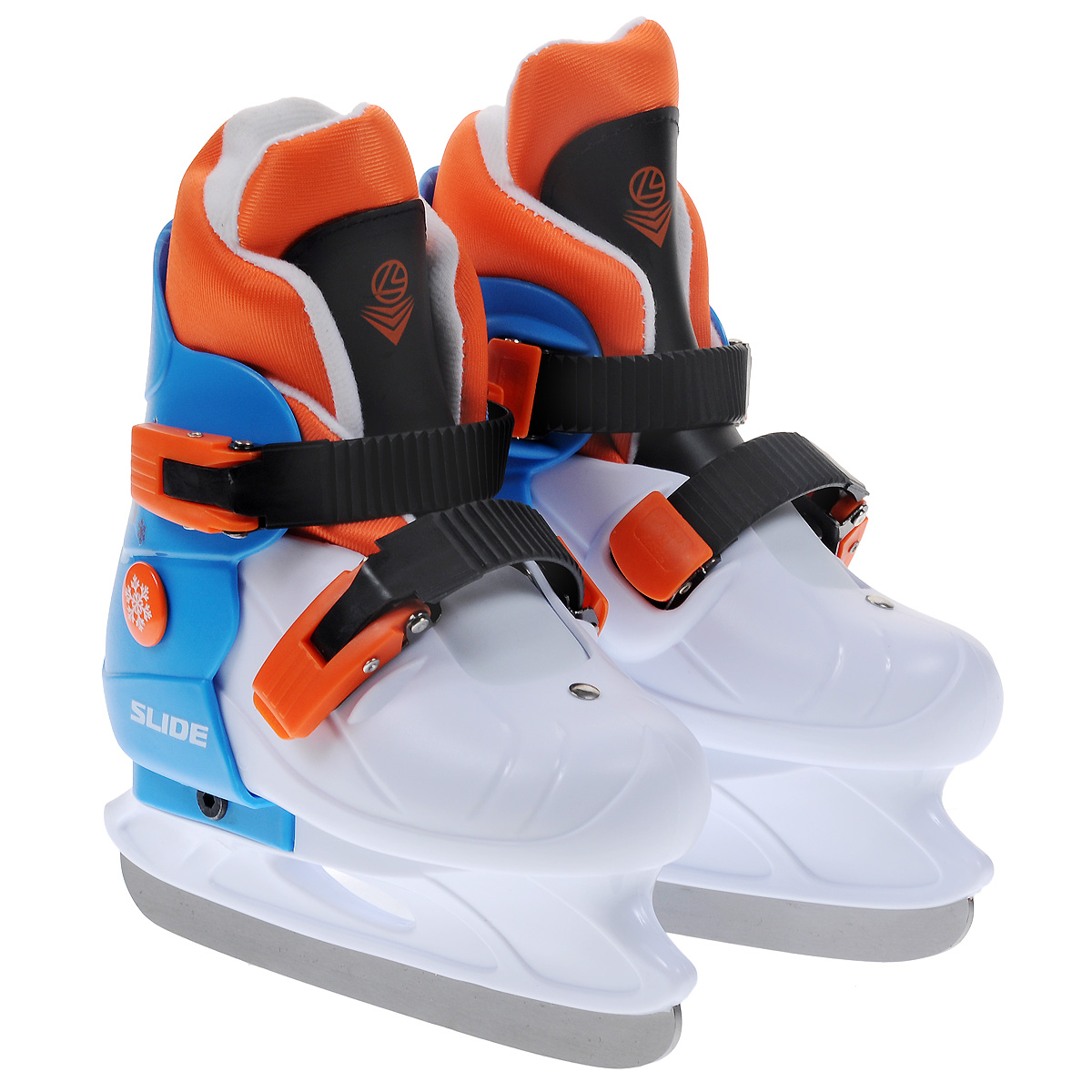 Коньки ледовые детские Larsen Slide, раздвижные, цвет: белый, голубой, оранжевый. Размер M (33/36)SlideДетские ледовые коньки Slide от Larsen отлично подойдут для начинающих обучаться катанию. Ботинки изготовлены из морозостойкого полипропилена, который защитит ноги от ударов. Пластиковые регулируемые бакли надежно фиксируют голеностоп. Внутренний сапожок выполнен из мягкого текстильного материала с поролоновой вставкой, который обеспечит тепло и комфорт во время катания.Лезвие выполнено из нержавеющей стали.Особенностью коньков является раздвижная конструкция, которая позволяет увеличивать размер ботинка по мере роста ноги ребенка. У сапожка пяточная часть крепится при помощи липучек, что также позволит увеличить размер.Температура использования: до -20°С.