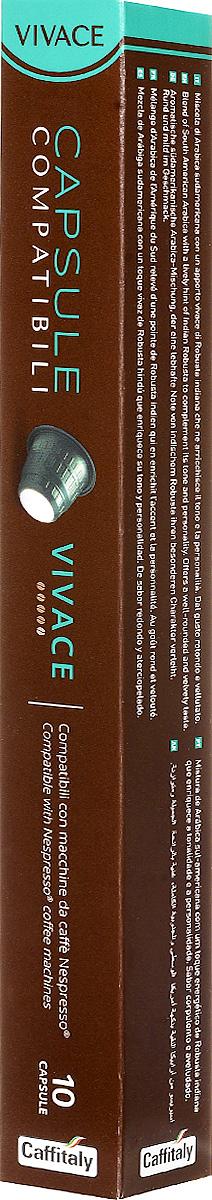 Caffitaly Vivace кофе в капсулах, 10 шт4601985006535Кофе Caffitaly специально разработан для системы Nespresso. Кофе Vivace - натуральный молотый кофе в капсулах. Содержит сбалансированную смесь южноамериканской арабики с добавлением яркой нотки индийской робусты, которая придает готовому кофе характерный индивидуальный оттенок и бархатистый вкус.Специально разработанная конструкция позволяет легко вставлять капсулу в кофемашину без каких-либо усилий, что позволяет избежать выхода машины из строя. Задняя часть капсулы выполнена из плотной фольги, таким образом капсула всегда прокалывается, и исключается поломка режущего элемента кофемашины при прокалывании, как это бывает в капсулах с плотной пластиковой стенкой.Одной капсулы хватает для приготовления 200 мг напитка.Вес одной капсулы: 5,5 г.