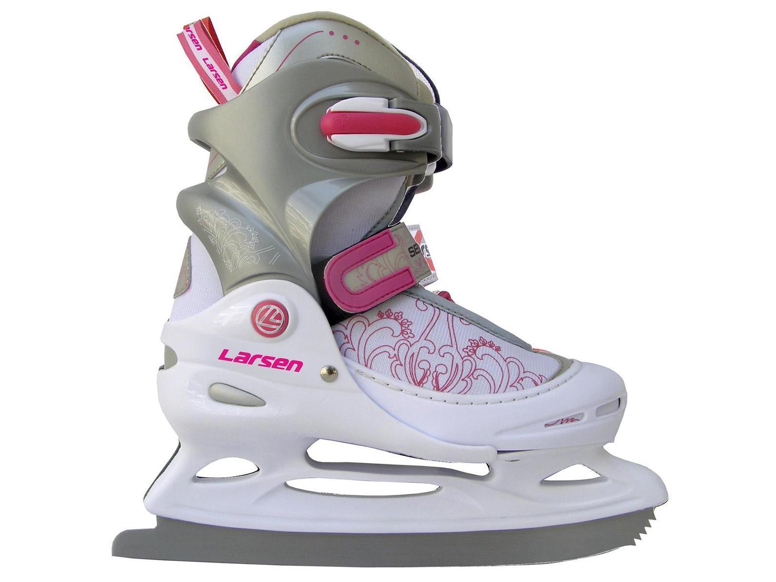 Коньки ледовые детские Larsen, раздвижные, цвет: серый, розовый, белый. Liberty 2014-2015. Размер 30/33SF 010Прогулочные коньки для свободного катания на льду. В коньках используются морозоустойчивые материалы повышенной прочности.