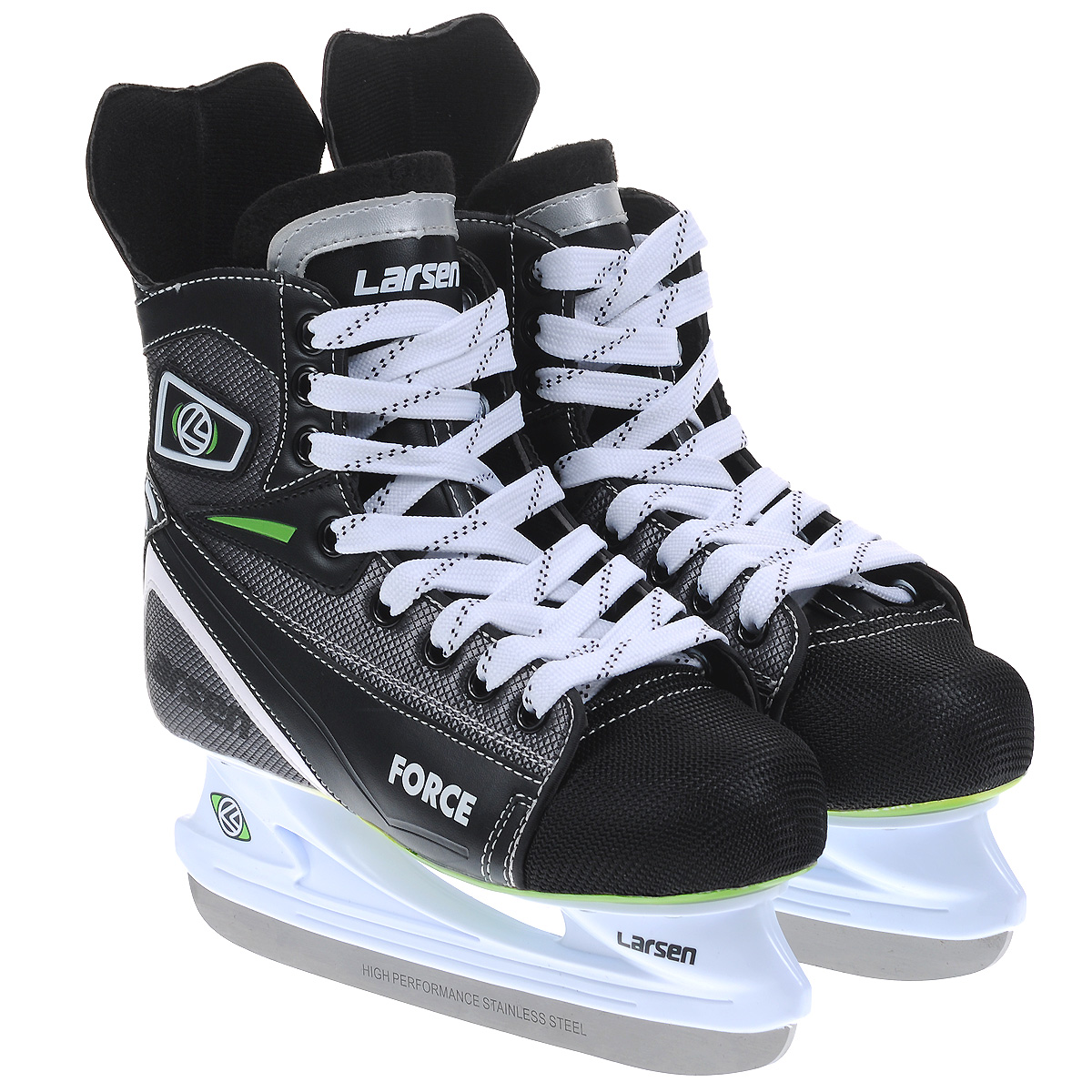 Коньки хоккейные Larsen Force, цвет: черный, серый. Размер 45ForceХоккейные коньки Force от Larsen прекрасно подойдут для начинающих игроков в хоккей. Ботинок выполнен из морозоустойчивого поливинилхлорида, мыс - из полипропилена, который защитит ноги от ударов, покрытого сетчатым нейлоном плотностью 800D. Внутренний слой изготовлен из мягкого материала Cambrelle, который обеспечит тепло и комфорт во время катания, язычок войлочный. Поролоновый утеплитель не позволит вашим ногам замерзнуть. Плотная шнуровка надежно фиксирует модель на ноге. Удобный суппорт голеностопа.Стелька из материала EVA обеспечит комфортное катание.Стойка выполнена из ударопрочного пластика. Лезвие из высокоуглеродистой стали жесткостью HRC 50-52 обеспечит превосходное скольжение.
