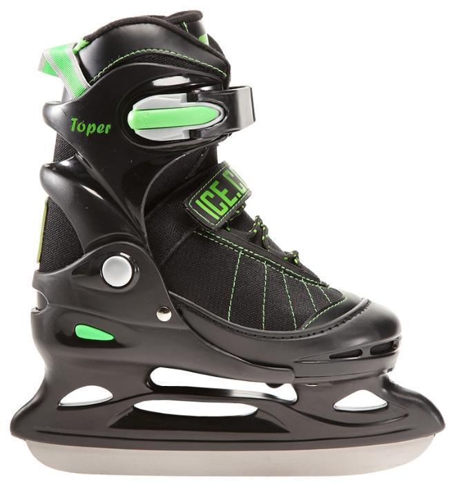 Коньки ледовые Ice.Com Toper 2014, раздвижные, цвет: черный, зеленый. Размер 30/33SlideБотинок COMFORTABLE FIT очень хорошо держит ногу и при этом, позволит чувствовать удобство во время катания. Стальное хоккейное лезвие обеспечит превосходное скольжение. Четкую фиксацию голени обеспечивают шнуровка Quick Lace, застежка на липучке Velcro, застежка с фиксатором Power Strap. Подошва - морозостойкий ПВХ. Теперь вам не придется покупать ребенку новые коньки каждый год, - предусматривается возможность изменения длины ботинка на 4 размера.