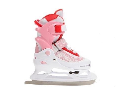 Коньки ледовые для девочки Ice.Com Lina 2014-2015, раздвижные, цвет: розовый, красный, белый. Размер 34/37УТ-00010439Ботинок COMFORTABLE FIT очень хорошо держит ногу и при этом, позволит чувствовать удобство во время катания. Стальное фигурное лезвие обеспечит превосходное скольжение. Четкую фиксацию голени обеспечивают шнуровка Quick Lace, застежка на липучке Velcro, застежка с фиксатором Power Strap. Подошва - морозостойкий ПВХ. Теперь вам не придется покупать ребенку новые коньки каждый год, - предусматривается возможность изменения длины ботинка на 4 размера.Для того, чтобы Вам максимально точно подобрать размер коньков, узнайте длину стопы с точностью до миллиметра. Для этого поставьте босую ногу на лист бумаги А4 и отметьте на бумаге самые крайние точки Вашей стопы (пятка и носок). Затем измерьте обычной линейкой расстояние (до миллиметра) между этими отметками на бумаге. Не забудьте учесть 2-3 мм запаса под носок.