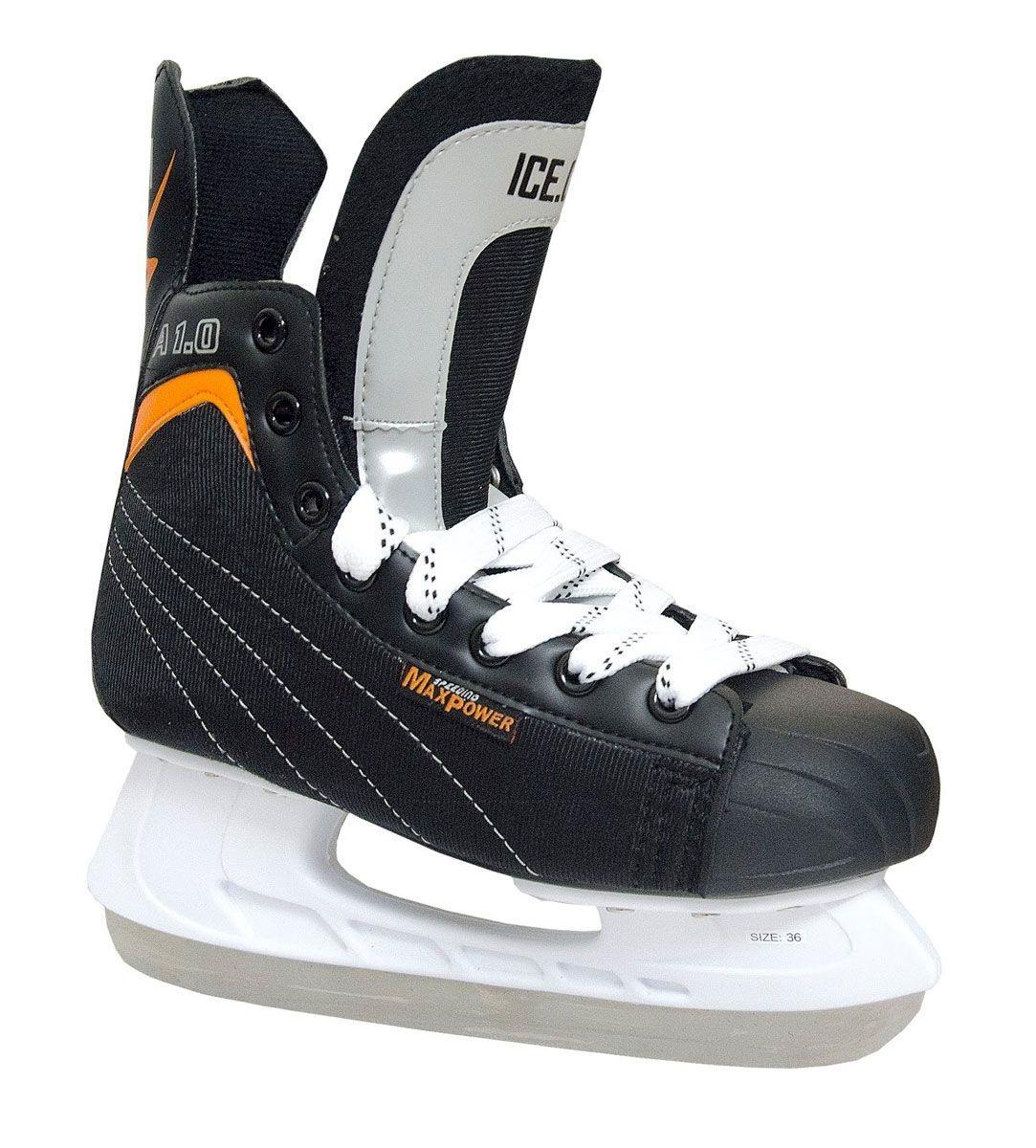 Коньки хоккейные Ice.Com A 1.0 2014, цвет: черный, оранжевый. Размер 43Atemi Force 3.0 2012 Black-GrayКоньки A 1.0 предназначены для игры в хоккей. Верх ботинка выполнен из морозостойкой искусственной кожи и нейлона. Мысок - морозостойкий ударопрочный PU, подошва - морозостойкий ПВХ. Толстый войлочный язык. Удобный высокий ботинок с широкой анатомической колодкой позволяет надежно фиксировать голеностоп.Для того, чтобы Вам максимально точно подобрать размер коньков, узнайте длину стопы с точностью до миллиметра. Для этого поставьте босую ногу на лист бумаги А4 и отметьте на бумаге самые крайние точки Вашей стопы (пятка и носок). Затем измерьте обычной линейкой расстояние (до миллиметра) между этими отметками на бумаге. Не забудьте учесть 2-3 мм запаса под носок.