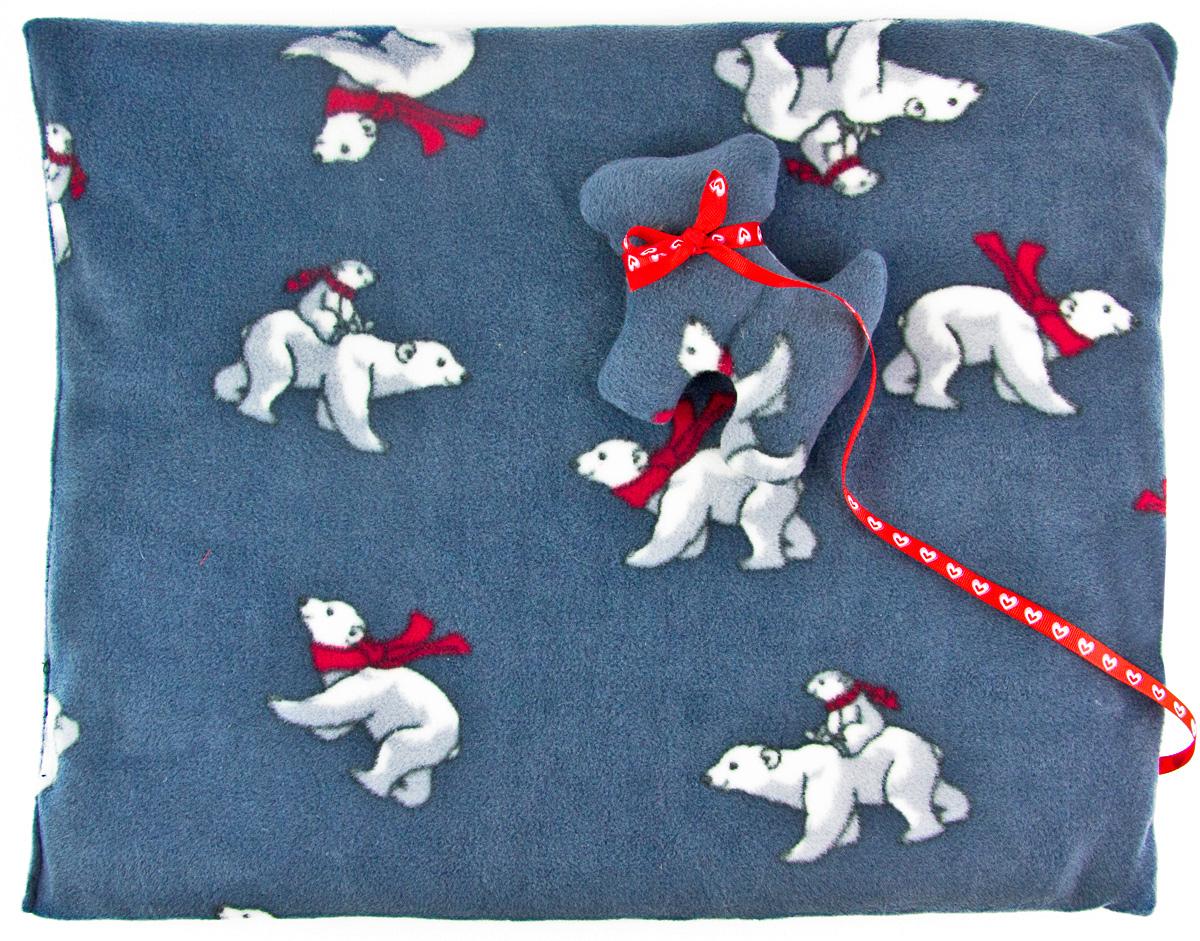 Лежак-коврик для животных Zoobaloo Мишки, с игрушкой, 70 х 60 см