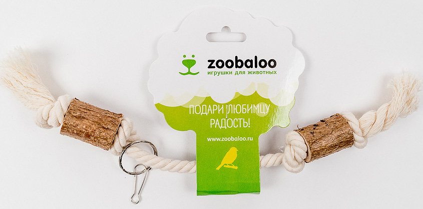 Игрушка для птиц Zoobaloo Гантель0120710Оригинальная игрушка для пернатых друзей Zoobaloo Гантель изготовлена из хлопчатобумажной веревки и орешника. Имеет карабин для крепления в любом месте клетки.