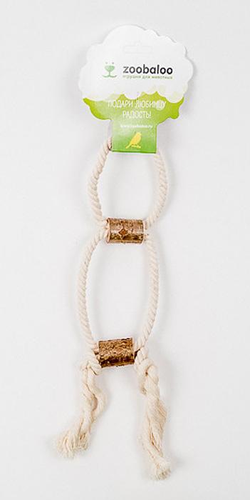 Игрушка для птиц Zoobaloo Двойное кольцо с боченками0120710Оригинальная игрушка для пернатых друзей Zoobaloo Двойное кольцо с боченками выполнена из хлопчатобумажной веревки и орешника. Абсолютно натуральная и безопасная!
