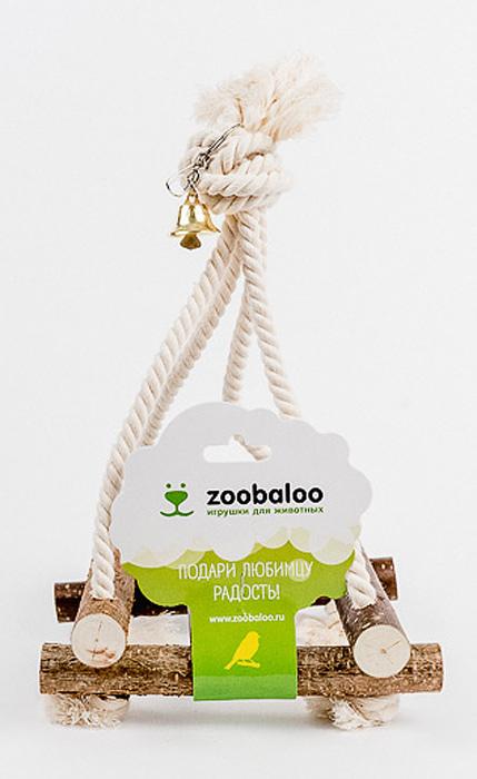 Игрушка для птиц Zoobaloo Качели0120710Игрушка Zoobaloo Качели - это отличный аксессуар для клетки ваших пернатых друзей. Качели выполнены в виде деревянных жердочек из орешника, оборудованы маленьким колокольчиком и металлическим карабином для подвешивания к клетке. Чтобы обезопасить лапки пернатых любимцев, брусочки соединены хлопковой веревкой.