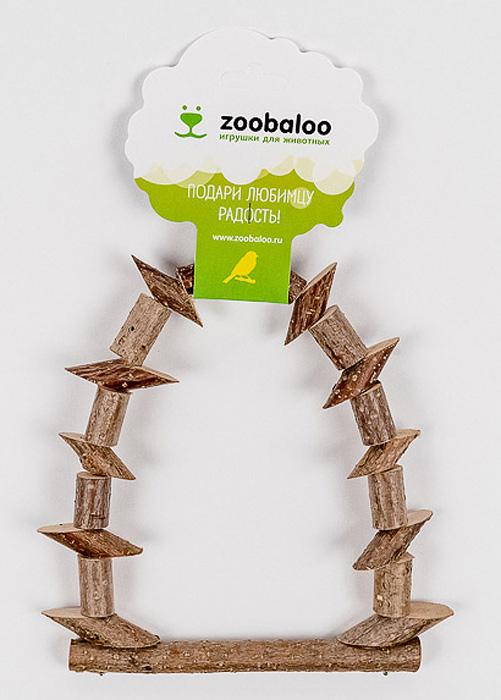 Игрушка для птиц Zoobaloo Качели из брусочков. 553552Игрушка Zoobaloo Качели из брусочков в отличие от пластмассовых аналогов производится из высококачественных натуральных материалов и полностью безопасна для ваших питомцев. Качели изготовлены из веток орешника и оснащены карабином для подвешивания в клетке.