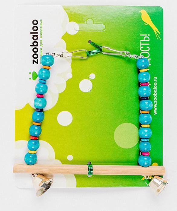 Игрушка для птиц Zoobaloo Качели. Африка, цвет: голубой, бежевый. 573318Игрушка Zoobaloo Качели. Африка - превосходный аксессуар для снятия стресса и развлечения вашего пернатого компаньона! Экзотическая расцветка, деревянная жердочка, чтобы не повредить нежные лапки, и два звонких колокольчика! Кроме того, качельки имеют два удобных карабина для подвешивания в клетке.