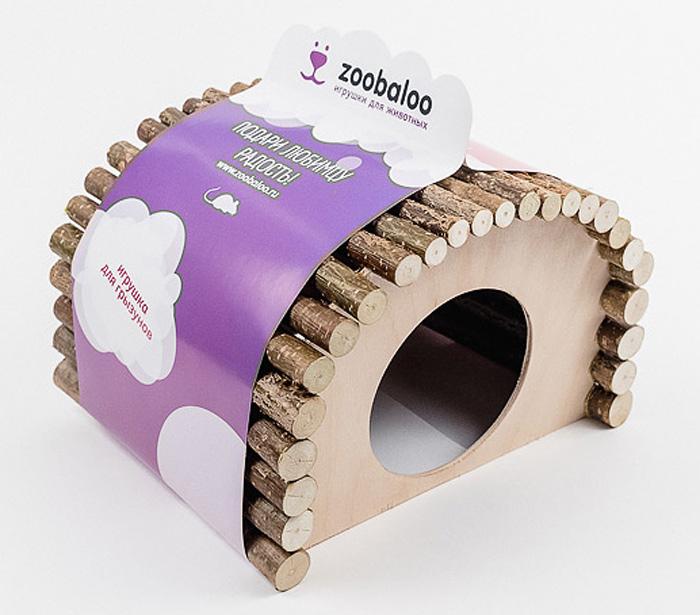 Домик для грызунов Zoobaloo Овал, 19 х 12 х 16 см домик слипер для животных zoobaloo woolpethouse с ушками цвет оранжевый размер m