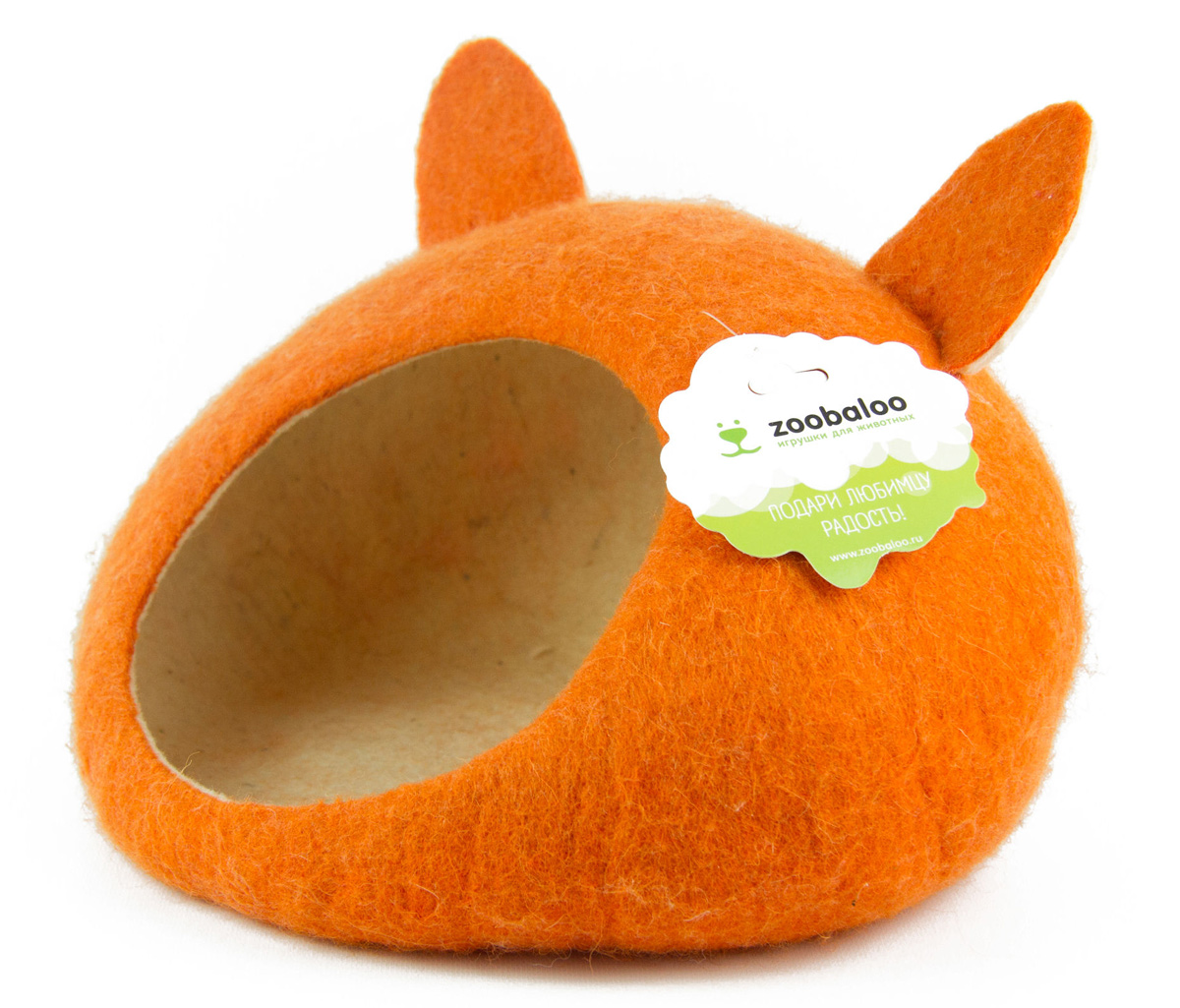 Домик-слипер для животных Zoobaloo WoolPetHouse, с ушками, цвет: оранжевый, размер S0120710Домик-слипер Zoobaloo WoolPetHouse предназначен для отдыха и сна питомца. Домик изготовлен из 100% шерсти мериноса. Учтены все особенности животного сна: форма, цвет, материал этого домика - все подобрано как нельзя лучше! В нем ваш любимец будет видеть только цветные сны. Шерсть мериноса обеспечит превосходный микроклимат внутри домика, а его форма позволит питомцу засыпать в самой естественной позе.