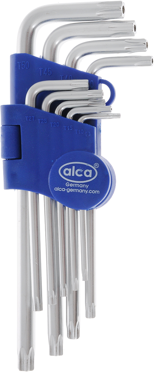 Набор ключей-звездочек Alca, шлиц вида Torx, с торцевым отверстием, цвет: синий, серый, 9 штCA-3505Набор ключей-звездочек Alca со шлицем Torx выполнен из высококачественной хром-ванадиевой стали. Изделия имеют торцевые отверстия для специальных гаек. Ключи размещены для удобства в специальном пластиковом держателе. В набор входят ключи: Т10, Т15, Т20, Т25, Т27, Т30, Т40, Т45, Т50.