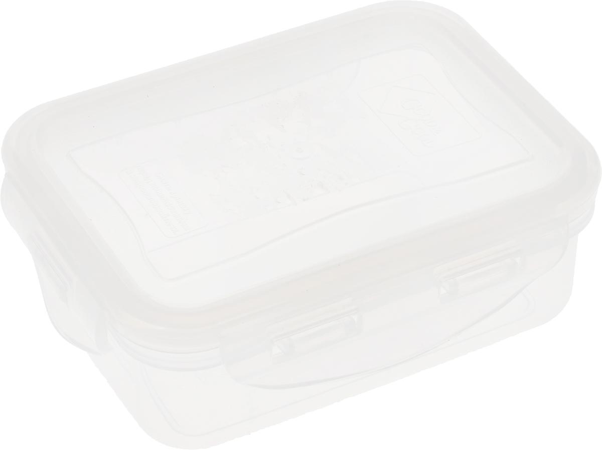 Контейнер пищевой Good&Good, цвет: прозрачный, 330 мл115510Прямоугольный контейнер Good&Good изготовлен из высококачественного полипропилена и предназначен для хранения любых пищевых продуктов. Благодаря особым технологиям изготовления, лоток в течение времени службы не меняет цвет и не пропитывается запахами. Крышка с силиконовой вставкой герметично защелкивается специальным механизмом. Контейнер Good&Good удобен для ежедневного использования в быту.Можно мыть в посудомоечной машине и использовать в микроволновой печи.Размер контейнера (с учетом крышки): 13 х 10 х 4,5 см.