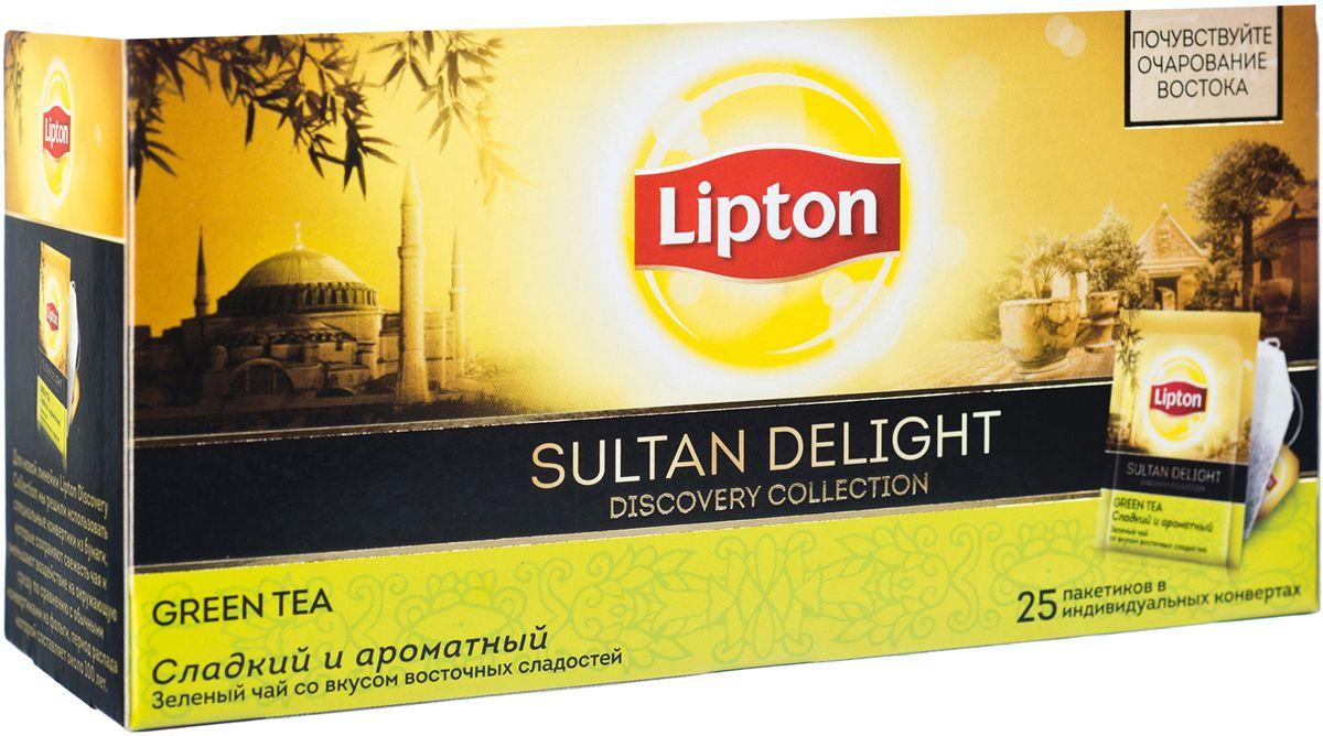 Lipton Зеленый чай Sultan Delight 25 шт0120710Lipton Sultan Delight - слегка терпкий зеленый чай с медовым послевкусием и легким ароматом зеленого яблока и инжира откроет вам утонченный и загадочный мир Востока.