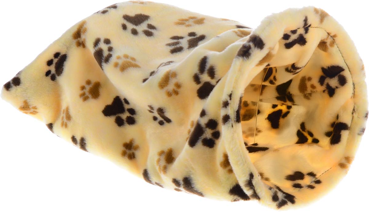 Лежак для животных Elite Valley Мешок, цвет: желтый, черный, коричневый, 30 х 30 х 60 см0120710Необычный лежак Elite Valley Мешок станет лучшим подарком для вашего любимца. Изделие выполнено из искусственного меха и оснащен внутри металлическим кольцом.Мягкий, теплый мешок надолго привлечет внимание животного, обеспечит интересным времяпровождением, а также даст возможность прятаться внутри от холода и посторонних взглядов.